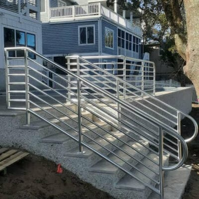 Stairwell with aluminum handrails